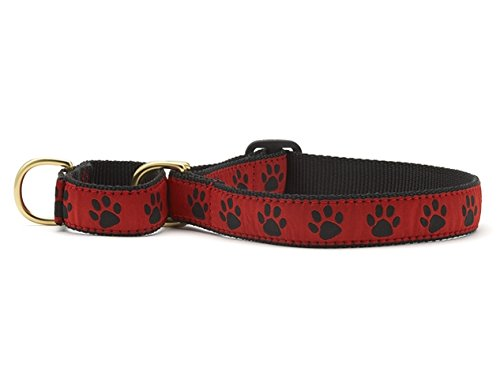 Large up Country Red & Black Paws Martingale Dog Collar