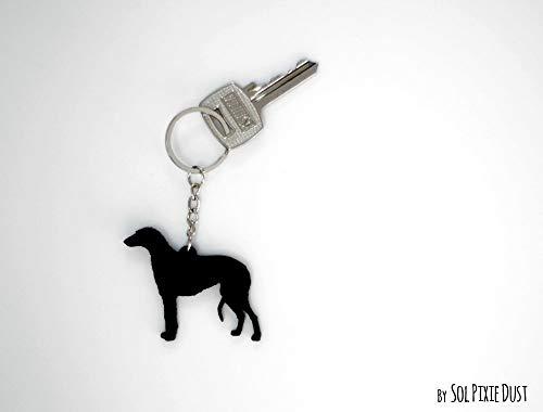 (Scottish Deerhound Dog- Keychain Silhouette)