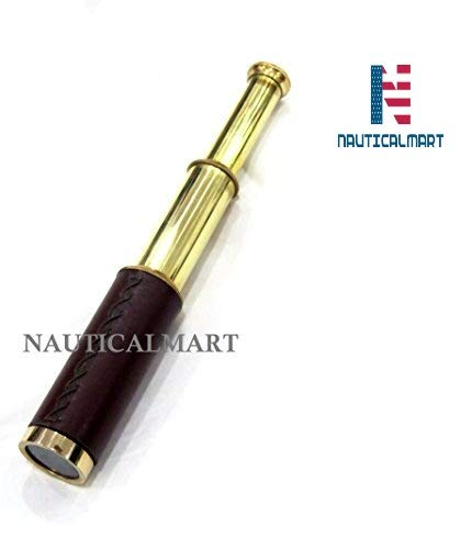 NAUTICALMART Deluxe Classes Solid Brass - Wood Scout's Spyglass Telescope 9