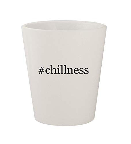 #chillness - Ceramic White Hashtag 1.5oz Shot Glass (Podium Chill Jacket)