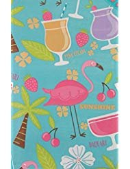 (Tropical Island Cocktail Party with Flamingos Vinyl Flannel Back Tablecloth (60