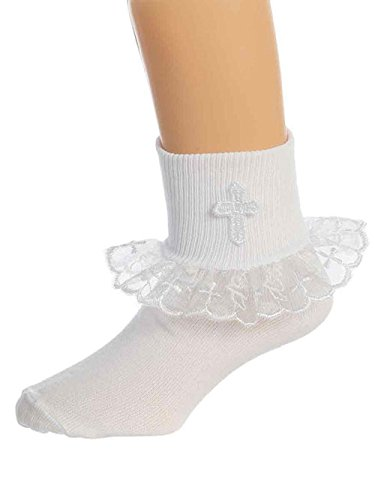 OLIVIA KOO Girl's Classic Embelished Cross Design Socks,Lace White,9-11 Years