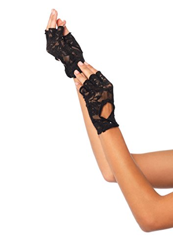 Lace Keyhole Fingerless Gloves (Leg Avenue 2724 Lace Keyhole Fingerless Gloves 80s 1980s Gloves)