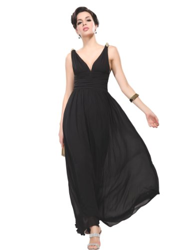 Ever Pretty Elegant V-neck Long Chiffon Crystal Maxi Evening Dress 09016