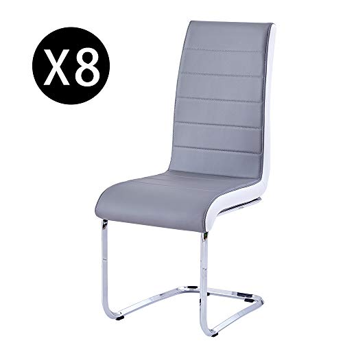 Enjowarm Dining Chairs Set of 8 Grey White Sides Faux Leather Mid Century Living Room Side Chairs Metal Chrome Legs High Back Dining Room Set for Home Kitchen Office Waiting Room