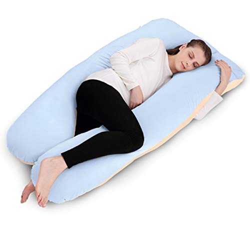 Body Pillow U Shaped with Removable Cotton Pregnancy Pillow Case By Dream, 60″ x 31″ x 7.8″ (Blue & Beige)