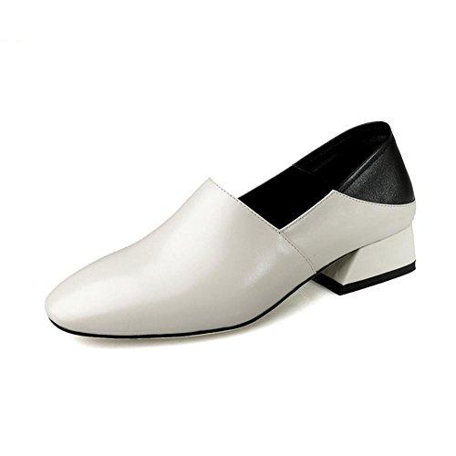 Mano Trabajo Para Hecho Soltero Mujer Tacón Cuero Áspero Fornido Caminar Casual A Zapatos Comodidad Perezoso Bajo Ponerse Blanco Negro cfqwZf7TY