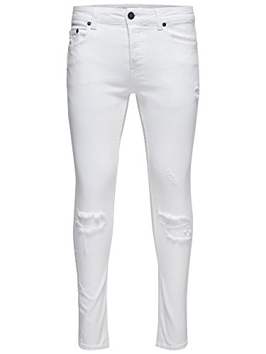 Uomo 22009879white Bianco Jeans Cotone Sons amp; Only WnUHaa