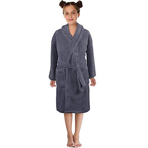 Boys Girls Flannel Bathrobes,3-12 Years Toddler Towel Night-Gown Pajamas Sleepwear (6-8 Years, Gray)