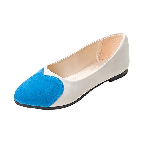 (QBQCBB Women Ladies Slip On Flat Sandals Casual Shoes Heart Pattern Fashion Loafer(Blue,35))