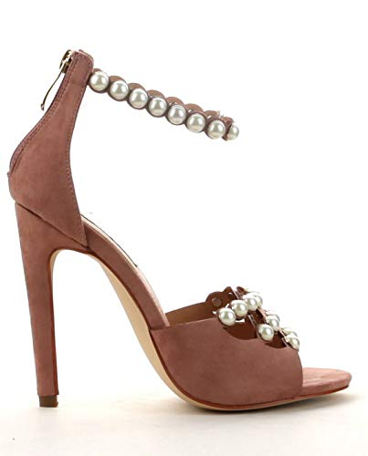 CAPE ROBBIN Meg-47 High Heel Open Peep Toe Pearl Studded Ankle Strap Stiletto Mauve Sandal