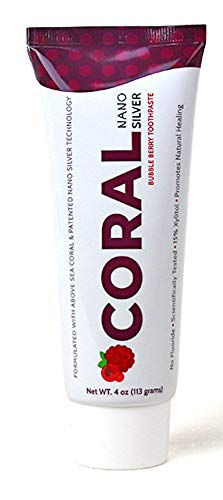 (Coral White Nano Silver Bubble Berry Toothpaste, Natural Fluoride Free Teeth Whitening Toothpaste, Coral Calcium Nano Silver Infused SLS Free (1 Pack))
