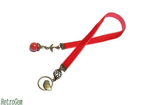 - RetroGem Red Velvet Ribbon Vintage Antique Bronze Bird Cage Bookmark With Swarovski Elements Pearl (Red Coral)