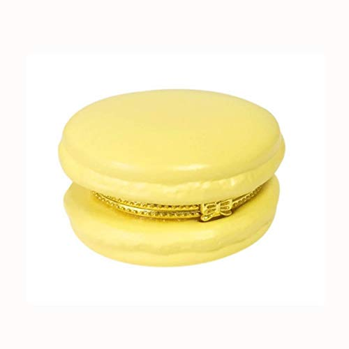 Two's Company Roll Over Image to Zoom in Yellow Macaron 2.25 Inch Ceramic Limoge Style Trinket Box (Yeloow)