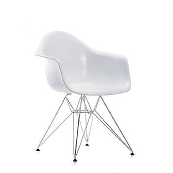 Vitra 4401110001 Stuhl DAR Eames Plastic Armchair Gestell Verchromt, Weiß