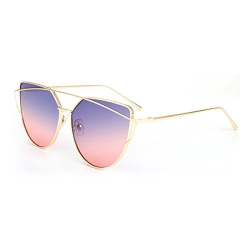 ROYAL GIRL Cat Eye Retro Women Sunglasses Metal Frame Classic Sun Glasses UV400 (Purple-Pink-Ombre, - Ombre Sunglasses
