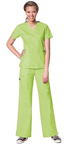 - WonderWink Women's WonderFlex Verity V-Neck Top 6108 and WonderFlex Faith Multi Pocket Cargo Pant 5108 Scrub Set (Green Apple - Medium)