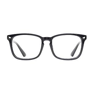 TIJN Unisex Wayfarer Non-prescription Glasses Frame Clear Lens Eyeglasses (Black, Transparent)