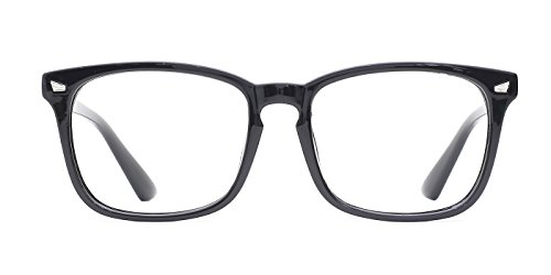 Tijn Unisex Wayfarer Non Prescription Glasses Frame Clear Lens Eyeglasses  Black  Transparent