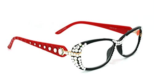 Glamour Quilted, Bling Women Reading Glasses Adorned with Swarovski Crystals +1.25 +1.50 +1.75 +2.00 +2.25 +2.50 +2.75 +3.00 Black and Red. NY Fifth Avenue.