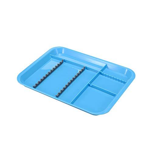Easyinsmile Autoclavable Dental Instrument Set-Up Procedure Trays Divided (Blue)