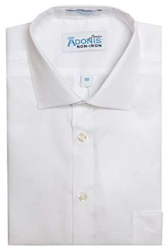 Boys 100% Cotton Non-Iron White Pinpoint Barrel Cuff Dress Shirt (Barrel Cuff Dress Shirt)