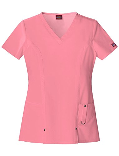 Dickies Xtreme Stretch Women's 82851 V-Neck Scrub Top- Exotic Rose- Large