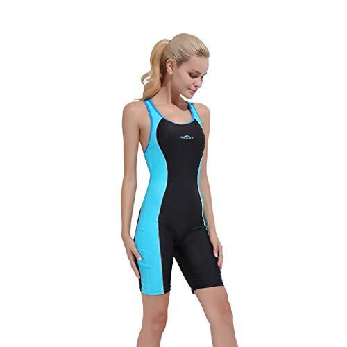 YEZIJIN Women Swimsuit Sexy One Piece Bodysuit Swimwear Professional Sport Bathing Suit Wetsuit top Long/Short Sleeve Sky Blue by Yezijin_Swimsuit (Image #2)