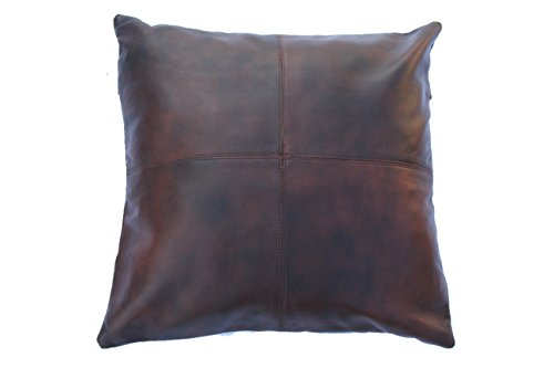 Leather Farm Thick Genuine Leather Pillow Cover Brown(Dual-Tone) Decorative for Couch Throw Pillow Case Brown(Dual-Tone) Leather Cushion Cover Solid Color (18''x18'')