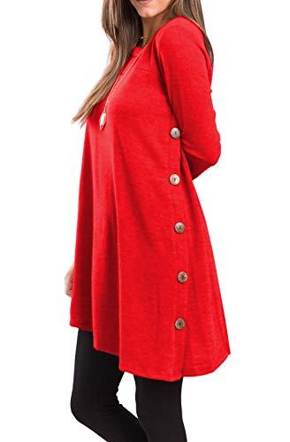 iGENJUN Women's Long Sleeve Scoop Neck Button Side Sweater Tunic Dress,S,Red -