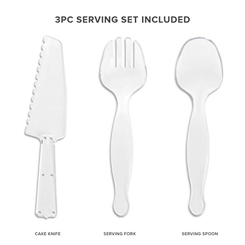 Your Gatherings - 606pc/100 Guest Silver Premium Disposable Wedding Dinnerware Set   100 Dinner Plates, 100 Dessert Plates, 200 Forks, 100 Spoons, 100 Knives, (100 Guest Set, Silver) by Your Gatherings (Image #2)