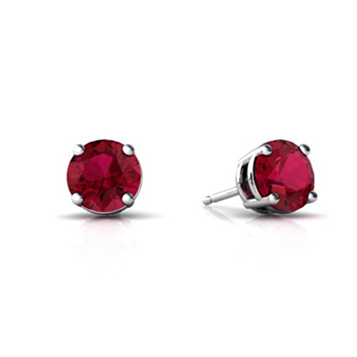 Round Ruby Solitaire (Solitaire Stud Post Earring Round Simulated Red Ruby 925 Sterling Silver)