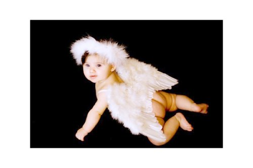 FashionWings (TM) White Feather Angel Wings for 6-18 month Baby, w/Halo, Poster (Cupid Baby Costume)