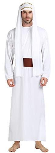SATUKI Men's Arab Prince Costume White Halloween Party Dubai Sheik Costume(Free -
