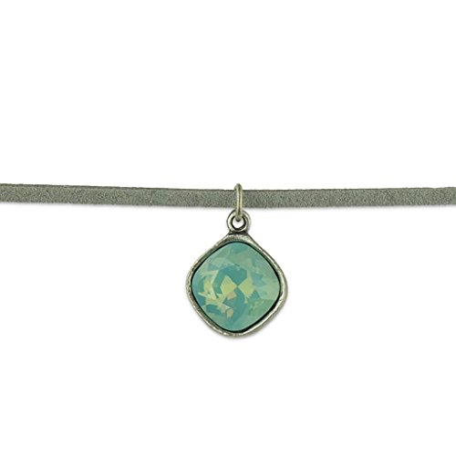 Anne Koplik Cushion Cut Pacific Blue Swarovski Crystal Choker ()