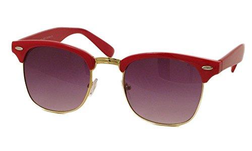 Designer Inspired Classic Half Frame Horned Rim Wayfarer Sunglasses (Red, - Red Glasses Frames Designer