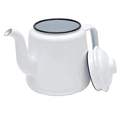 Enamelware 52 Ounce Teapot - Solid White with Black Rim
