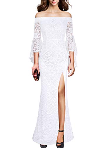 VFSHOW Womens Off Shoulder Bell Sleeve High Slit Formal Evening Party Maxi Dress