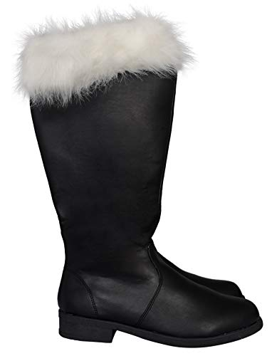 Adult Halloween Christmas Santa Claus Adult Costume Black Boots (Large US 12-13) -