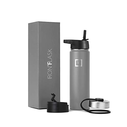Iron Flask Sports Water Bottle – 22 Oz, 3 Lids (Straw Lid), Vacuum Insulated Stainless Steel, Hot Cold, Modern Double Walled, Simple Thermo Mug, Hydro Metal Canteen (Graphite)