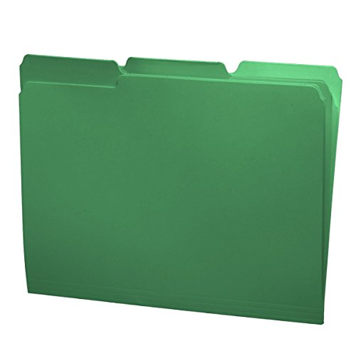 One Drawer Box - File Folders, 1/3 Cut Top Tab, Letter Size, Perfect for Organizing Documents in File Drawers, Box of 100 (Green)
