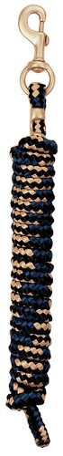 Poly Lead Rope with a Solid Brass 225 Snap, Black/Tan/Navy