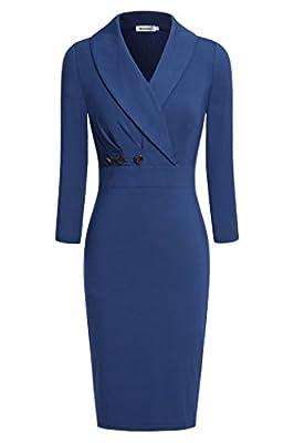 Ninedaily Women Lapel Neck Button 3/4 Sleeve Bodycon Wear to Work Pencil Dress