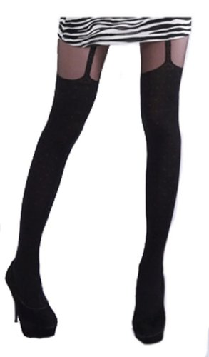 Black Sexy Suspender Garter Style Sheer Print Tights XS ~ M -