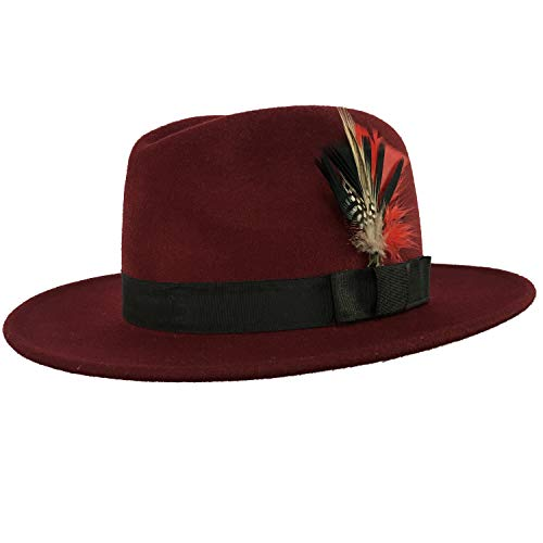 Classic Manhattan Fedora Hat w/Bowknot Feather,100% Pure Wool,Gangster Hats for 1920s Mens/Womens,Burgundy -