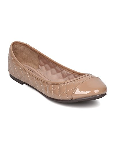 (Breckelle's Women Patent Leatherette Capped Toe Quilted Ballet Flat FI13 - Natural (Size: 8.5))