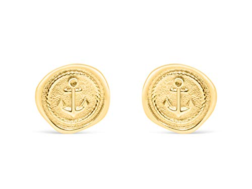 ONDAISY 14k Matte Gold Plated Cute Cool Unique Lucky Gypsy Vintage Round Circle Coin Boat Nautical Anchor Dot Ears Studs Post Earrings For Women Teen Girls Children Men Jewelry Hypoallergenic
