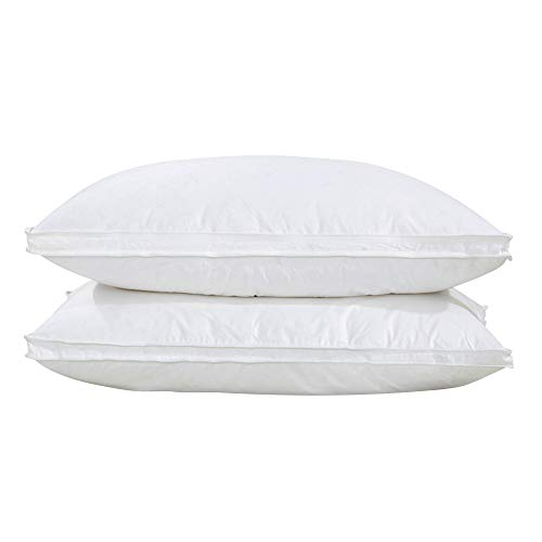Goose Feather Down Pillow, Set of 2 Bed Pillows for Sleeping with Downproof 100% Cotton Shell, 42 oz Filling, Soft King Size (White) ()