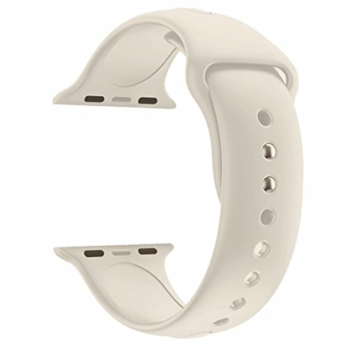 YANCH Compatible for Apple Watch Band 38mm 40mm,Soft Silicone Sport Strap Wristband Compatible for iWatch Apple Watch Series 4 Series 3, Series 2, Series 1,Nike+,Sport,Edition,S/M Size,Antique White