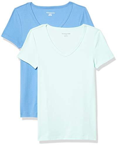 Amazon Essentials Women's 2-Pack Slim-Fit Short-Sleeve V-Neck T-Shirt